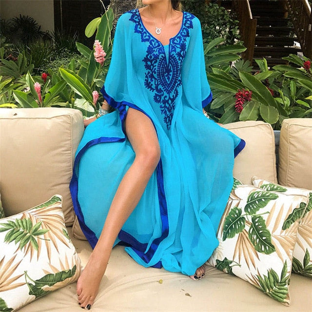 Plus Size Blue Embroidered Summer Beachwear Chiffon Kaftan Beach Woman Tunic Bath Dress Robe plage Swim Wear Cover Up