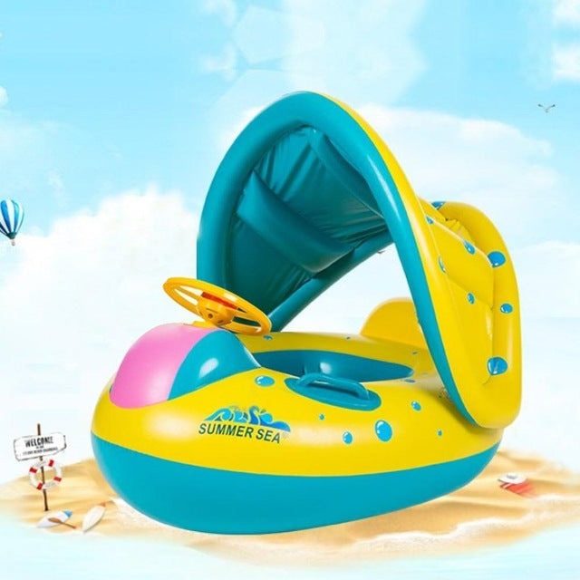 Summer Inflatable Baby Float Circle Ring Beach Baby Swimming Pool  Accessories Cartoon Swim Seat Boat With Sunshade Pool Float