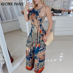 Sleeveless Tropical Print Spaghetti Strap Jumpsuit
