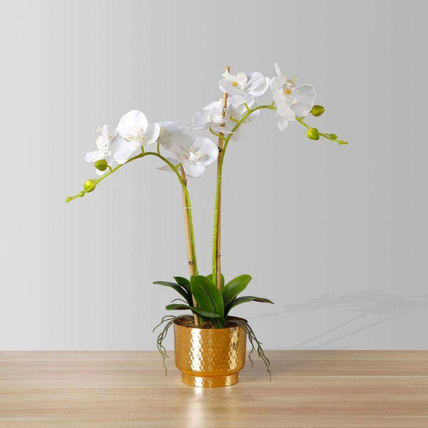 GLADIOLA FAUX POTTED ORCHID FLORAL ARRANGEMENT 24 INCHES