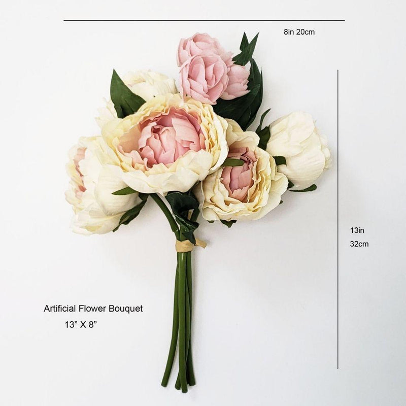 Peach Pink and Cream Artificial Peony Flower Bouquet 13''x8''