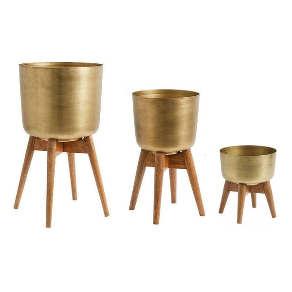 ATZI - Mid-Century Turned Wood Leg Planter Brass (Multiple Sizes)