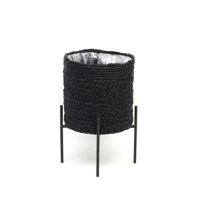 ISHA- BLACK BRAIDED PLANTER ON BLACK STAND