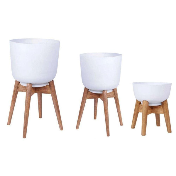 Sita - Mid-Century Turned Wood Leg Planter White (Multiple Sizes)