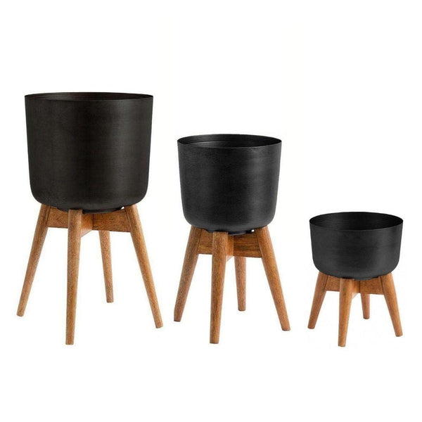 COYO - Brass Turned Wood Leg Planter Black (Multiple Sizes)