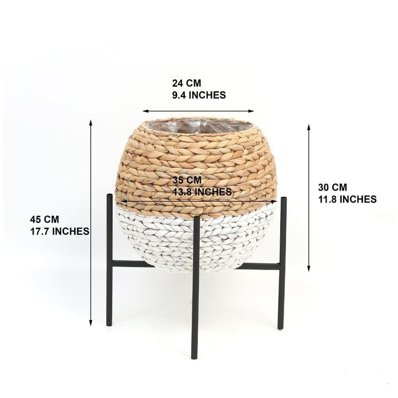PUNO - WATER HYACINTH NATURAL ROUND  PLANTER ON BLACK STAND