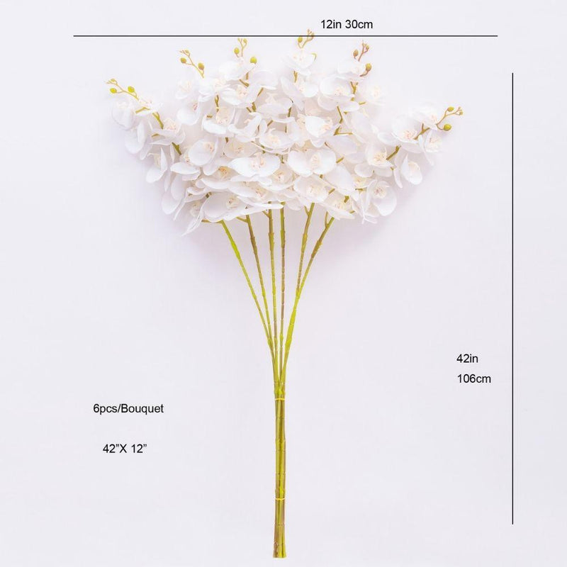 Zuna Artificial White Orchid Bouquet 42'' x 12''(Set of 6)