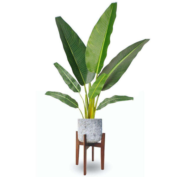 ROMA MID-CENTURY ROCK PLANTER WITH WOODEN STAND Brass Planter ArtiPlanto