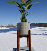 LORI GREY MID-CENTURY PLANTER WITH WOODEN STAND