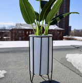 MATI - White Planter With Black Stand