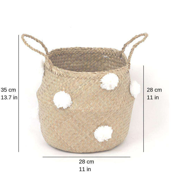 BOMBA - Seagrass Basket With White Pompoms ArtiPlanto