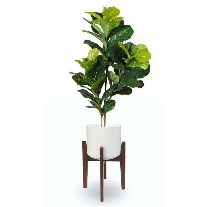 BONI WHITE MID - CENTURY CEMENT PLANTER WITH WOODEN STAND ArtiPlanto