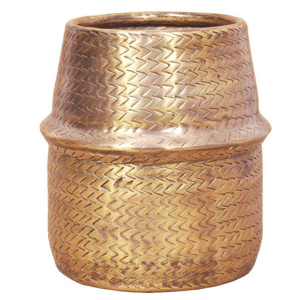 Bonita -Rattan Brass Finish Planter ArtiPlanto