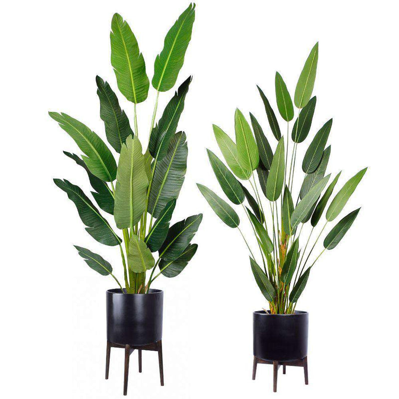 CEZA - Brass Modern Plant Stand With Black Planter ArtiPlanto