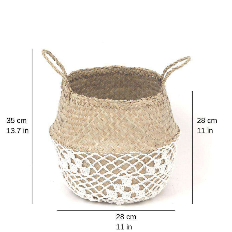 COSTA - Seagrass Basket With White Net Pattern ArtiPlanto