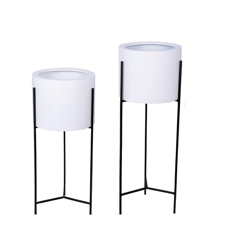 Cira - White Mid-Century Planter With Black Metal Stand (Multiple Sizes) ArtiPlanto