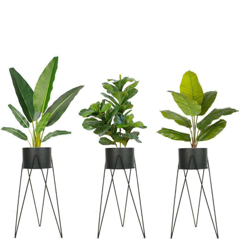 HILA BLACK PLANTER WITH HAIRPIN LEGS (91CM) ArtiPlanto