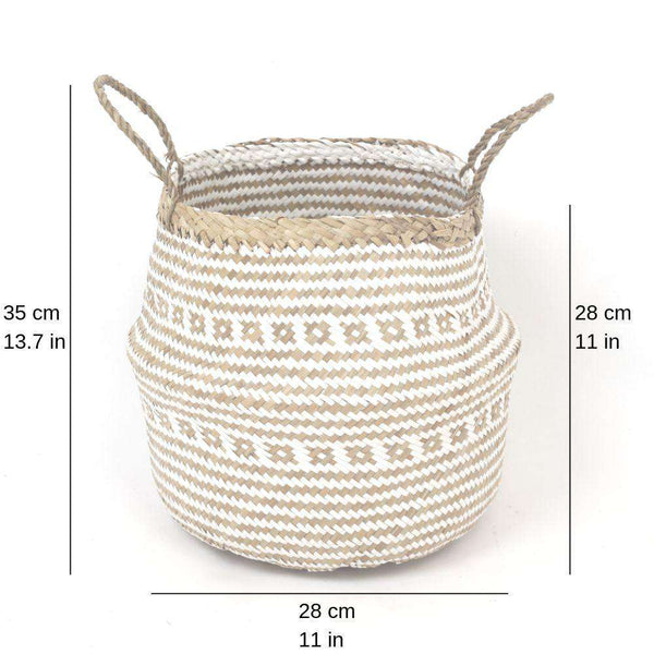 ISAK - Seagrass Basket With White Decoration ArtiPlanto