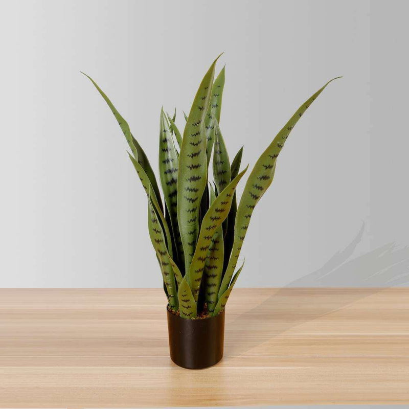 JOSE ARTIFICIAL SNAKE SANSEVIERIA DARK GREEN POTTED PLANT 26' ArtiPlanto
