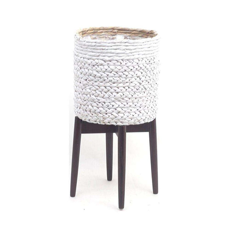 LIZA - White Mid-Century Braided Planter With Turned Leg Stand ArtiPlanto