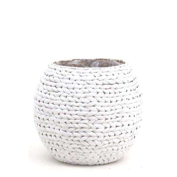 LUA - Water Hyacinth White Round Floor Planter ArtiPlanto