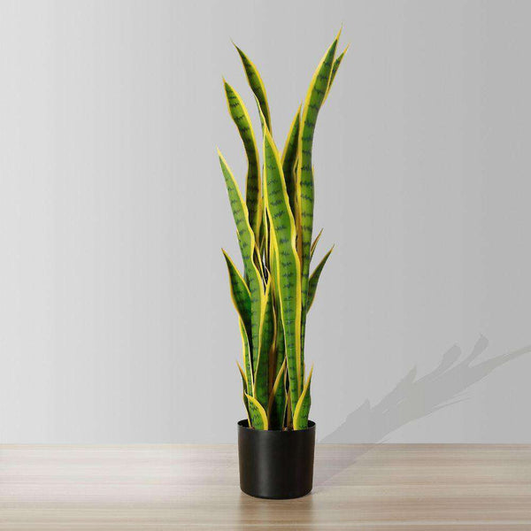 LUNA Artificial Snake Sansevieria Yellow & Green Potted Plant (MULTIPLE SIZES) ArtiPlanto