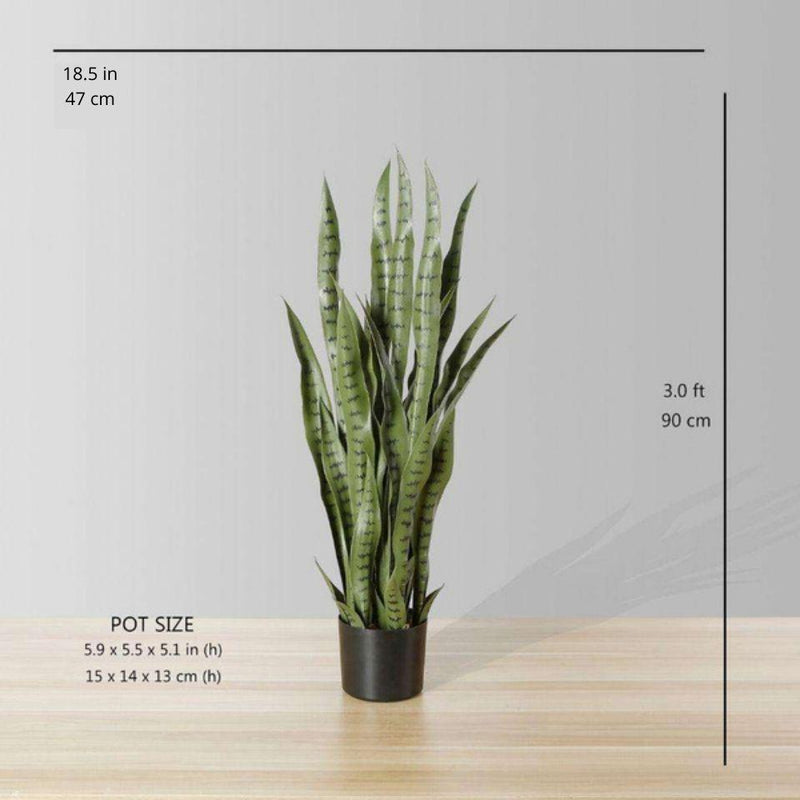 MILO Artificial Snake Sansevieria Dark Green Potted Plant (Multiple Sizes)