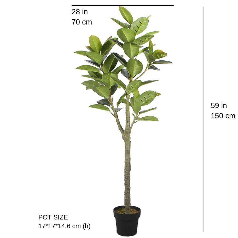 NERO Artificial Rubber Potted Plant 5' ArtiPlanto