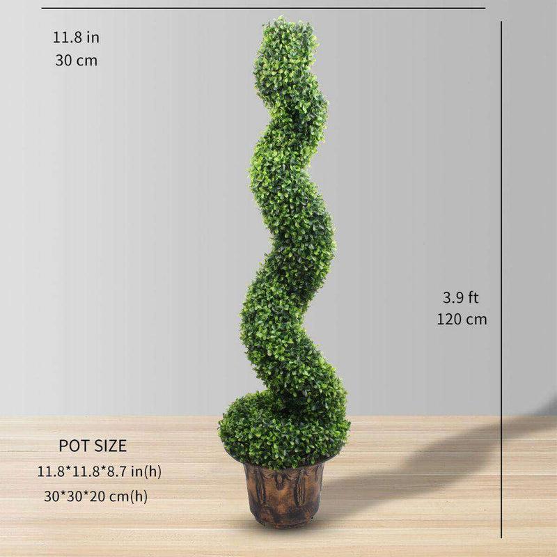 NORWICH Faux Potted Spiral Boxwood Topiary Plant 48'' ArtiPlanto