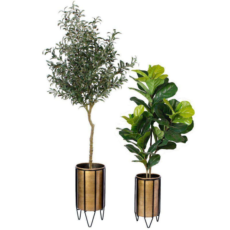 Neva - Brass Planter With Black Stand ArtiPlanto
