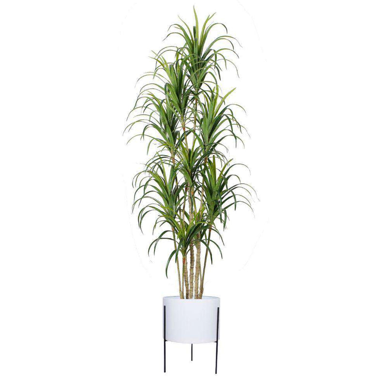 Noe - White Mid-Century Planter With Black Metal Stand ArtiPlanto