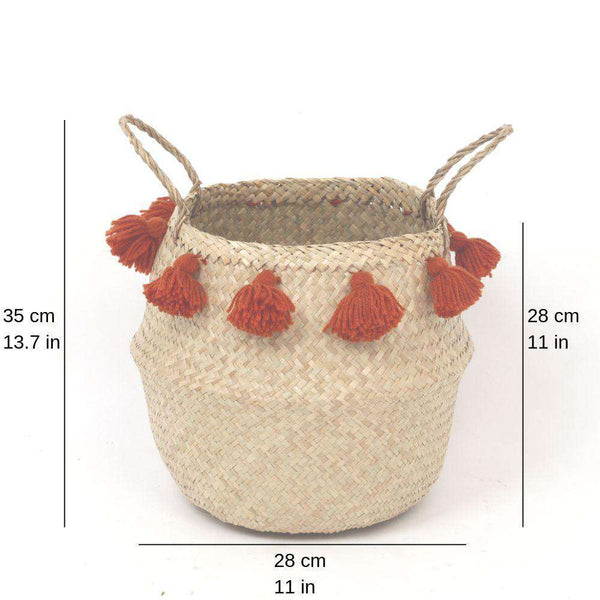 PORTA - Seagrass Basket With Orange Pompoms ArtiPlanto