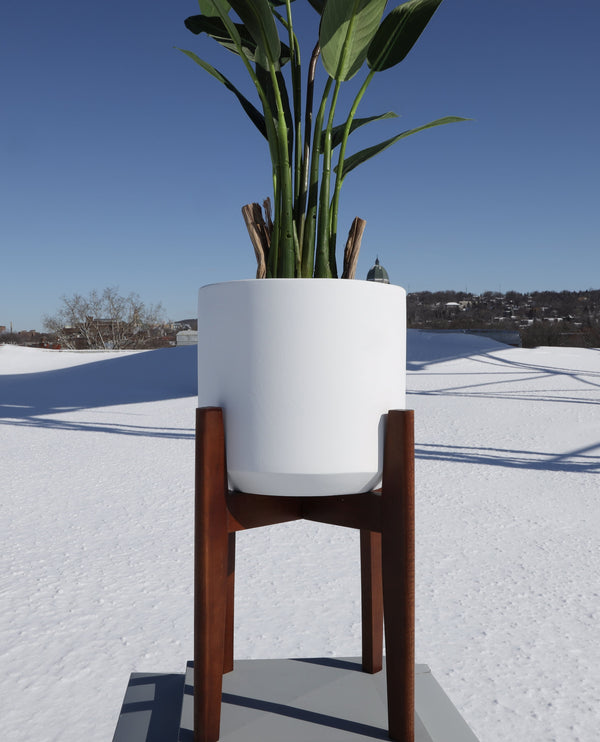 BONI WHITE MID - CENTURY CEMENT PLANTER WITH WOODEN STAND