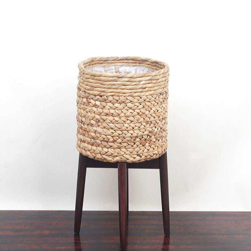 RAE - Mid-Century Braided Planter With Turned Leg Stand ArtiPlanto