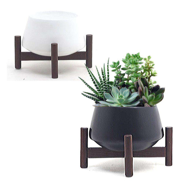RENZO - Bamboo Mid-Century Tabletop Planter On Wood Stand ArtiPlanto