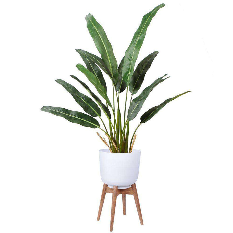 Sita - Mid-Century Turned Wood Leg Planter White (Multiple Sizes) ArtiPlanto