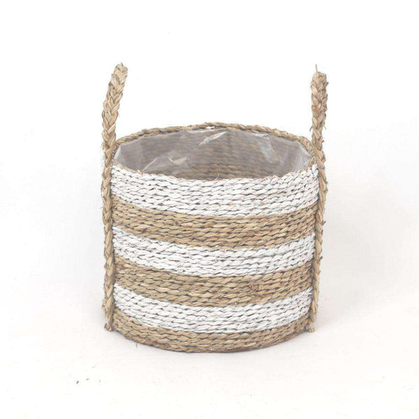 TOM - Seagrass Planter With White Stripes ArtiPlanto