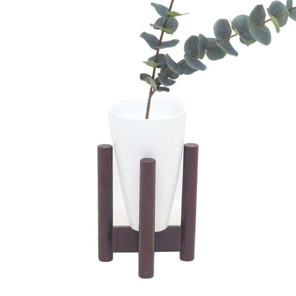 VASE - White Bamboo Mid-Century Tabletop Planter On Wood Stand ArtiPlanto