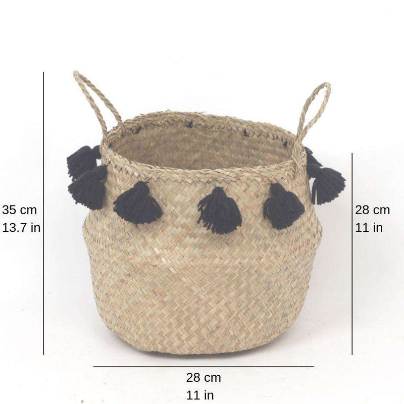 VIENNA - Seagrass Basket With Black Tassel ArtiPlanto