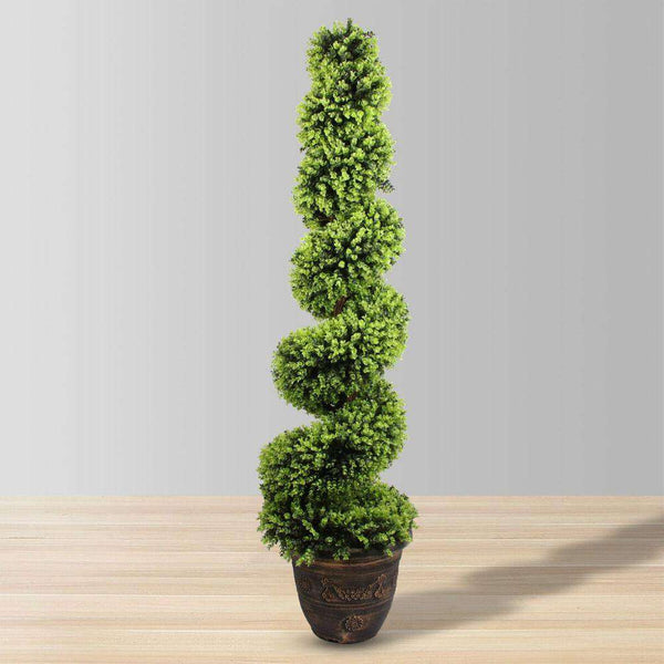 WALES Faux Potted Spiral Boxwood Topiary Plant (Multiple Sizes) ArtiPlanto