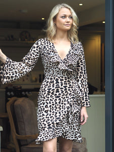 Leopard Ruffle Wrap Dress