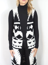 Load image into Gallery viewer, Monochrome Aztec Stitched Blanket Sleeveless Cardigan