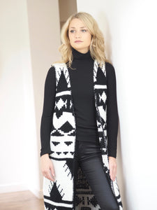 Monochrome Aztec Stitched Blanket Sleeveless Cardigan
