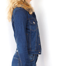 Load image into Gallery viewer, Faux Fur Denim Jacket
