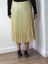 Load image into Gallery viewer, Gold Pleated Shimmer Skirt
