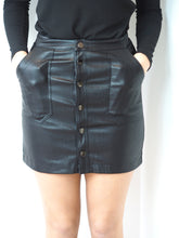 Load image into Gallery viewer, Faux Leather Button Mini Skirt