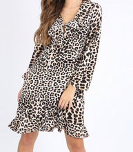 Load image into Gallery viewer, Leopard Ruffle Wrap Dress