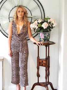 Leopard Sleeveless Wrap Jumpsuit