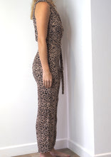 Load image into Gallery viewer, Leopard Sleeveless Wrap Jumpsuit