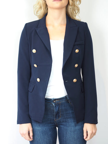 Navy Blazer with Gold Detail